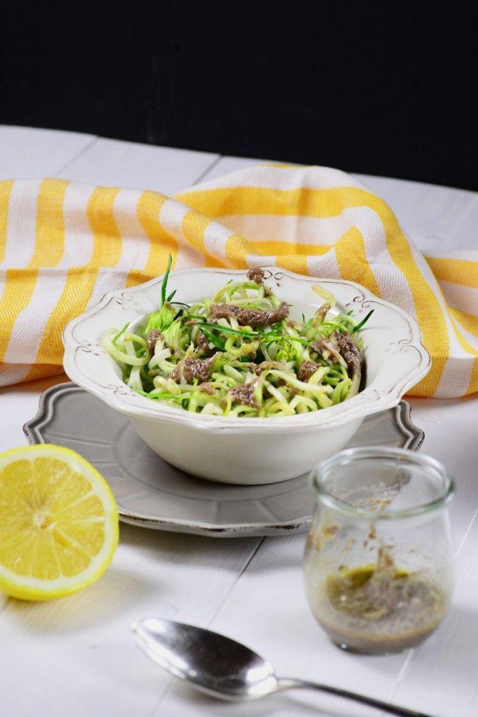 puntarelle alla romana con pasta d'acciughe. roman chicory salad con anchovy cream.