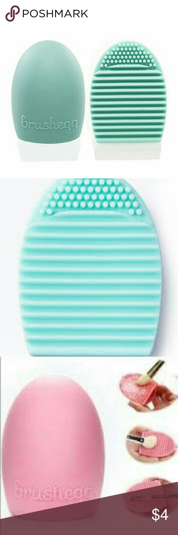 New Light blue Brush Egg Makeup Brush Cleaner Brand new Brush Egg makeup brush cleaner in light blue. Gently and effectively cleans brushes without damaging the bristles. To use, simply wet the brush and apply a gentle brush cleaner or baby shampoo. Lightly  rub the brush bristles against the textured side of the Brush Egg and rinse until bristles are clean. Brush egg may be slipped over the fingers or held in the palm of the hand,  depending on your preference. Also available in pink in my…