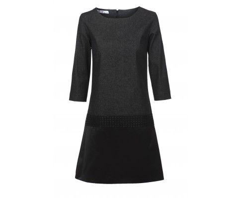 Dressfactor A-lijn jurk denim satijn zwart