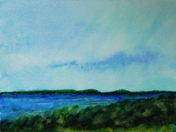 Watercolor Landscape Blue Sea Painting Horizontal Wall Art Coastal Wall Decor Watercolor Painting Landscape Art Horizontal Wall Art Water Art Sea Painting