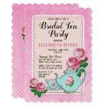 Pink English Cottage Style Bridal Tea Party Shower Card