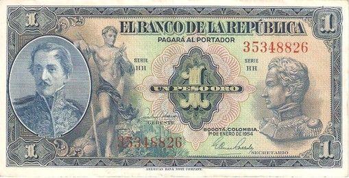 BILLETE DE 1 PESO AÑO 1954 BANCO DE LA REPÚBLICA DE COLOMBIA