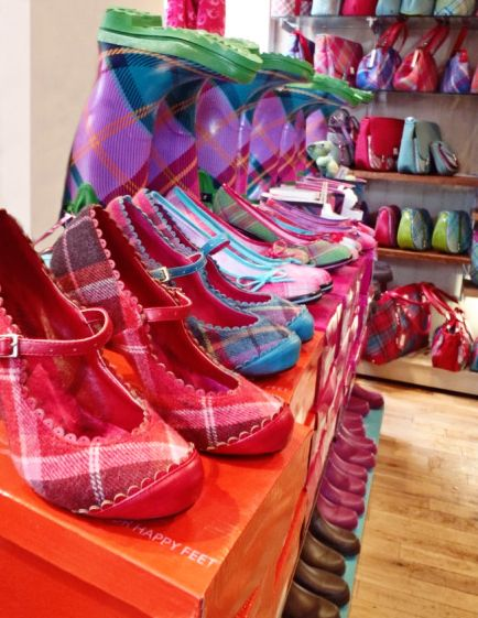 Bright, bright tartan shoes and bags at Ness, Edinburgh.