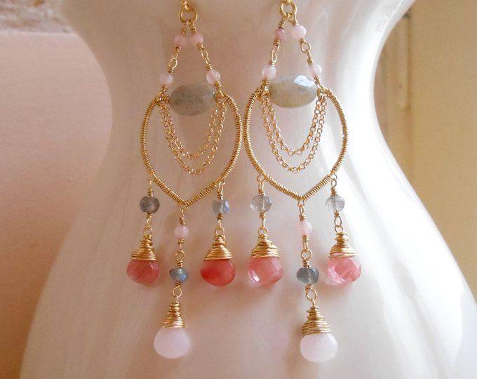 DV Jewels Rose Quartz Pink Freshwater Drop Dangle Earrings