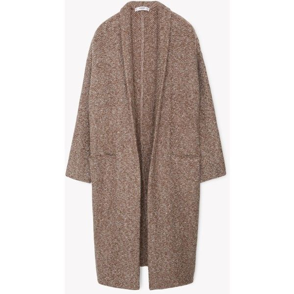 MANGO MANGO Flecked Cotton-Blend Coat ($50) ❤ liked on Polyvore featuring outerwear, coats, jackets, coats & jackets, tops, brown coat, long sleeve coat and mango coat