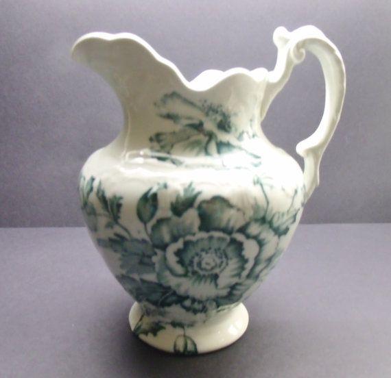 Antique Vintage Colonial Pottery Stoke England Genoa Blue Green Transferware Pitcher