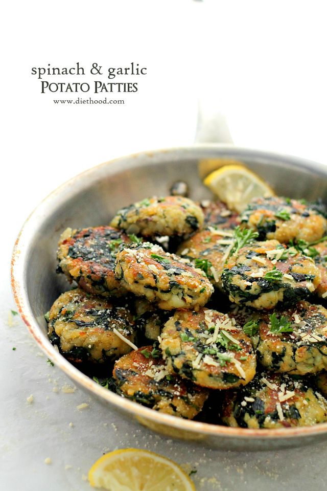 Spinach and Garlic Potato Patties - Delicious and flavorful Patties made with a mixture of potatoes, spinach and garlic.
