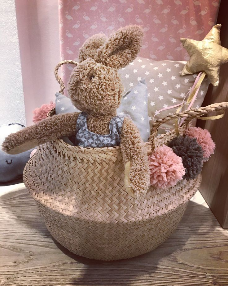 Special newborn baby gift pompon straw basket in oastel shades filled with handmade Cotton Prince baby goods cottonprince.gr