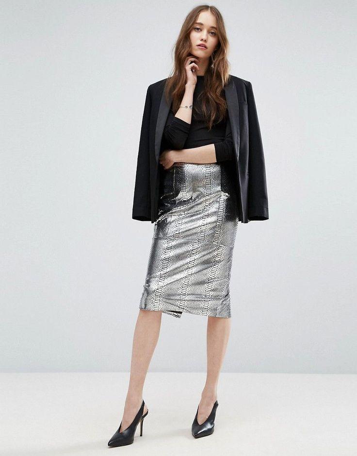ASOS Pencil Skirt in Metallic Snake Print - Silver