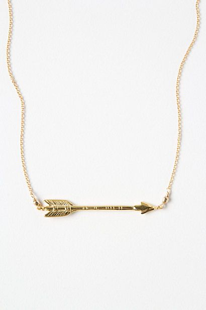 "WANT IT :: Straight Shot Necklace :: $38 | anthropologie.com :: [16""l, 1.75"" pendant] Brass, 14k gold :: I'm really into minimalist jewelry lately. Love this necklace, but I would adjust it to have the arrow be on the side :] 