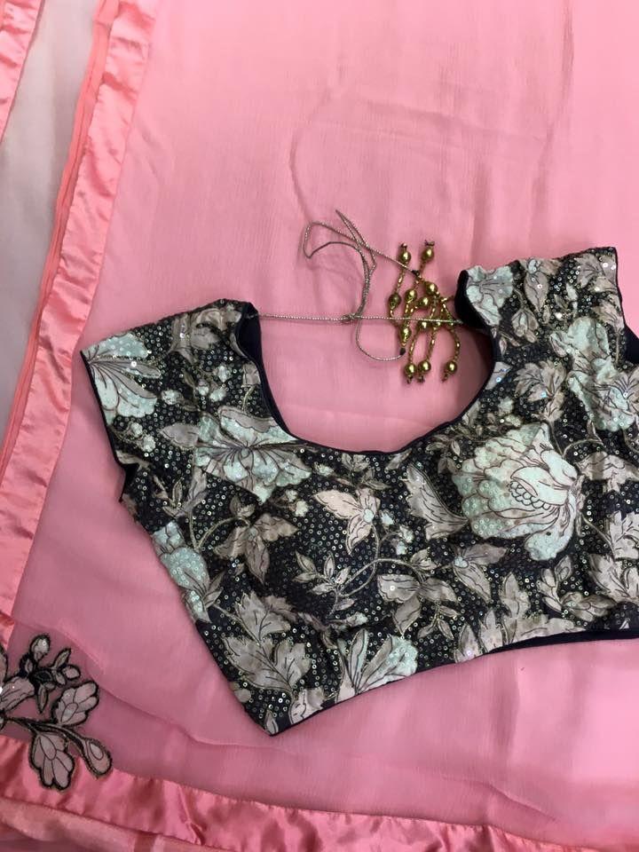 Light pink and Black Platinum Chiffon Saree With Designer Blouse   Buy Online Sarees   Elegant Fashion Wear