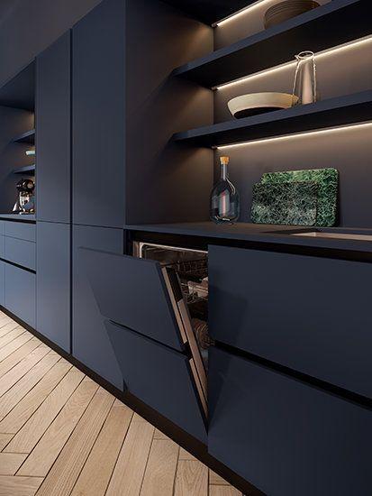 Die offenen, sehr luftigen Regale dieser Küche sind hervorgehoben