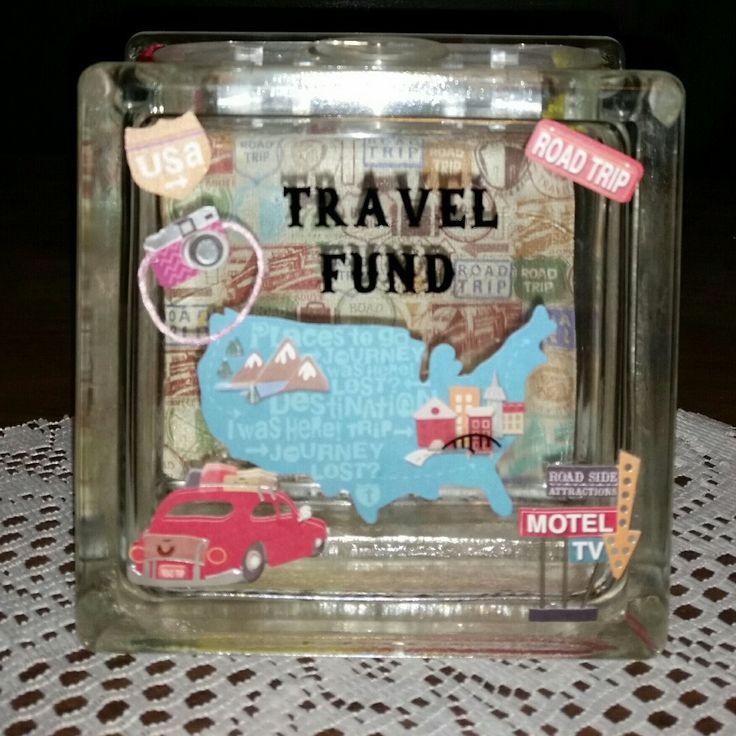 Travel fund glass block piggy bank vacation fund for Travel fund piggy bank