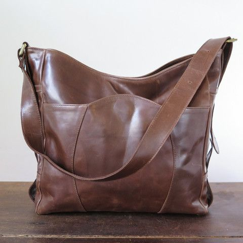 leather buckle bag with adjustable strap and snap closure, made in california