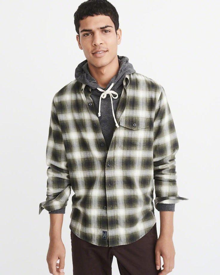 A&F Men's Herringbone Shirt in Green - Size XXL