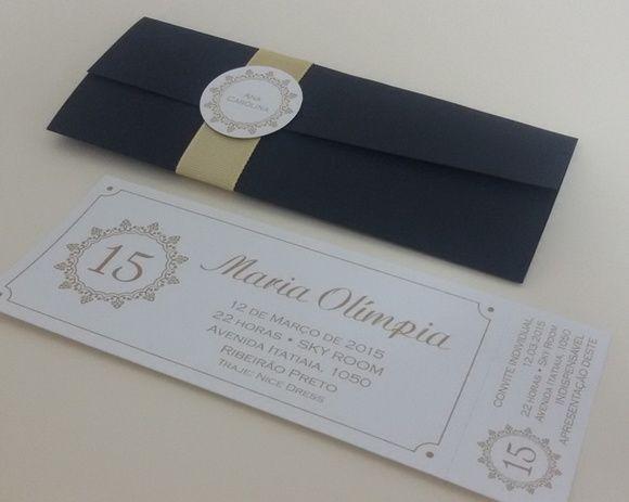 Convite ingresso 15 anos papel Aspen , envelope papel Color Plus Telado com fita de gorgurão e tag com nome de convidados. Arte exclusiva.  Cores de impressão e envelope podem ser alterados.