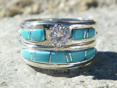 Native American Indian Navajo Wedding Rings Band Turquoise CZ Muskett Sz 7 | eBay
