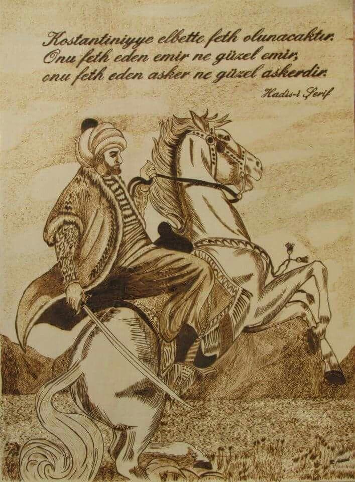 Fatih Sultan Mehmet.. 40*60 ölçülerinde.. Yakma resim..
