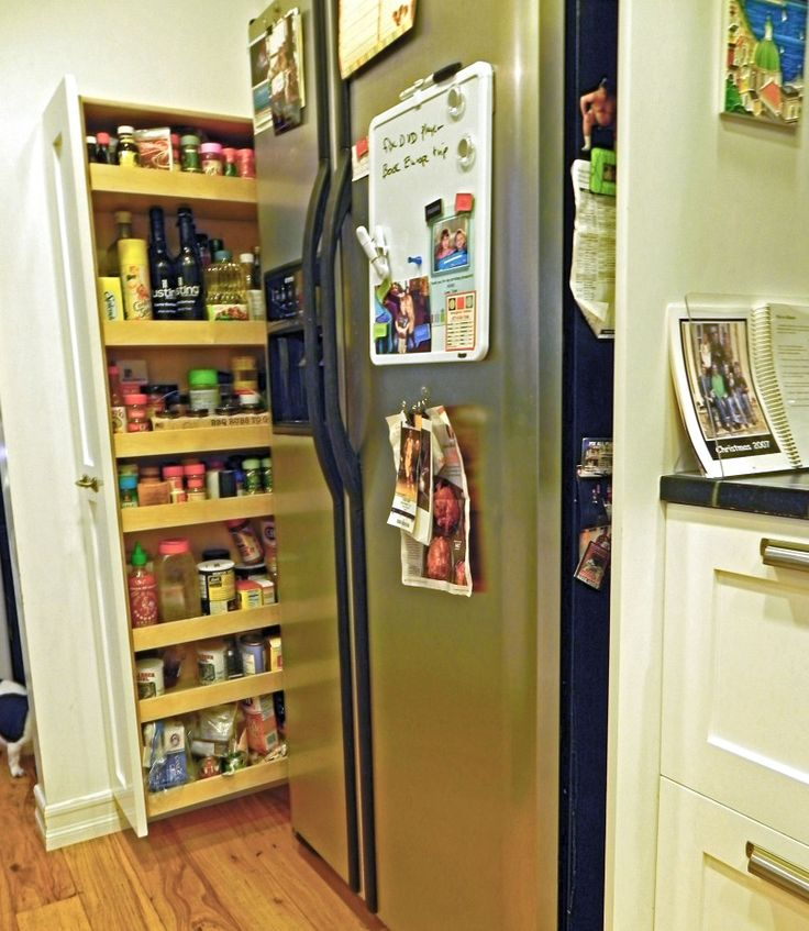 Kitchen Simple Small Kitchen Storage Inspiration With White Solid Teak Wood Door Stainless Steel Refrigerator Also Tiny Kitchen Storage Ideas And Remodelling Your Home Decoration Besides Pull Out Pantry Ideas   Kitchen Storage Ideas : Reduce Clutter At Your Kitchen