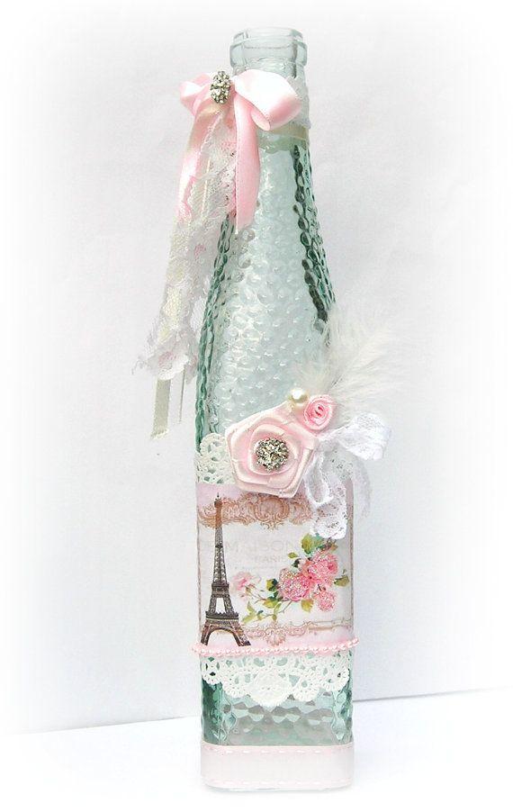 Decorated Bottle Shabby Chic Decor via Etsy - http://myshabbychicdecor.com/decorated-bottle-shabby-chic-decor-via-etsy-2/