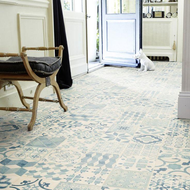 PVC Boden Tarkett Exclusive 240 Retro Almeria Blue 3m Bodenbeläge PVC Belag Fliesen - Dekor