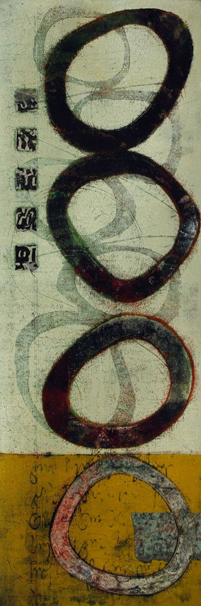 """Shadows of Yesterday, by Anne Moore, monotype, 24""""X 8"""""""