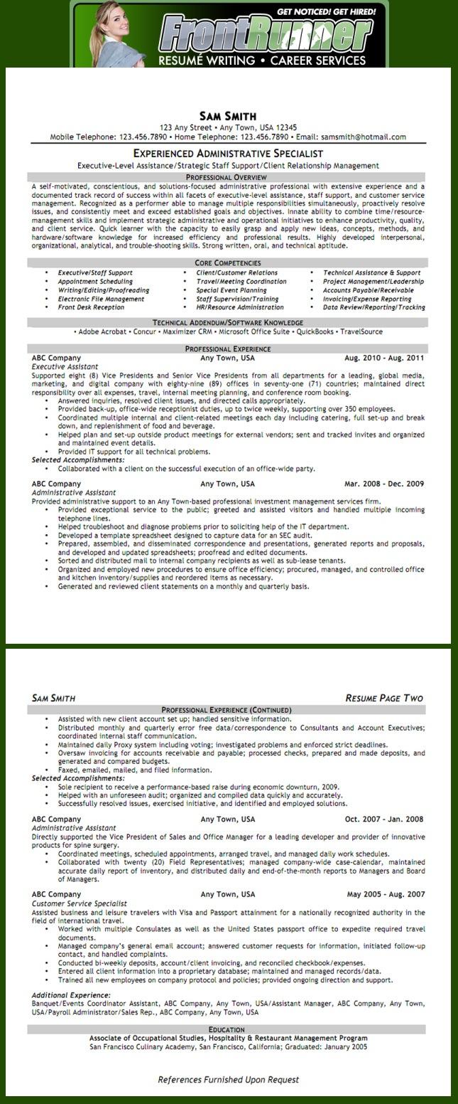 resume example executive assistant see more examples at wwwfrontrunneronlinecom job inforesume examplesresume writingprofessional