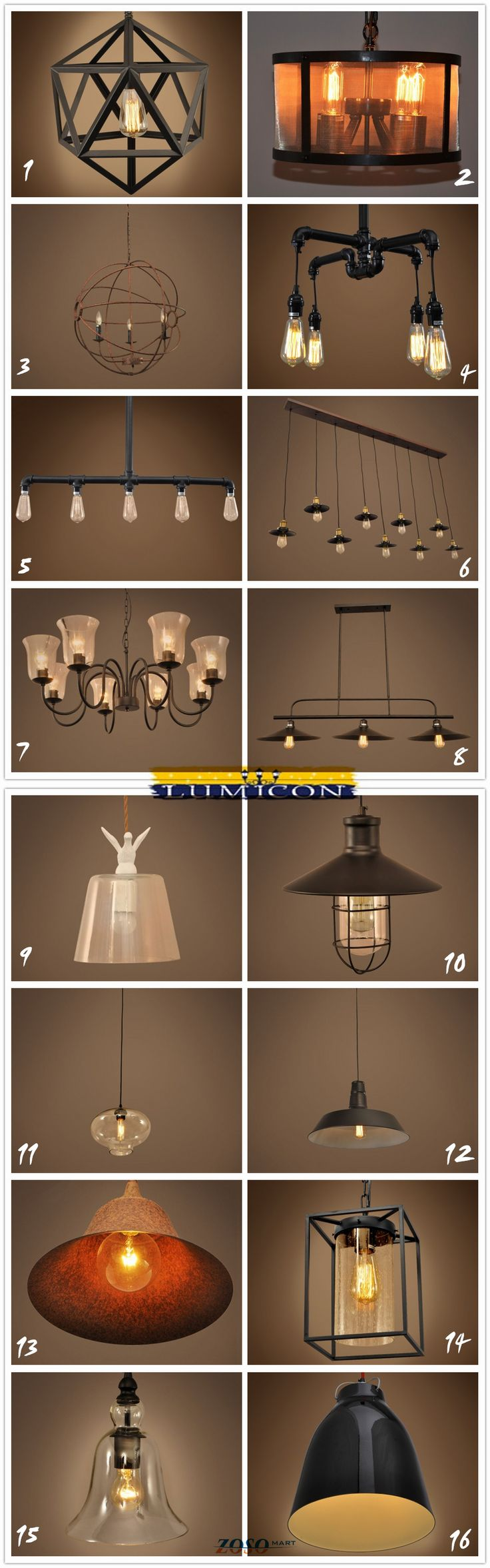 16 most popular lighting fixture. Which one is your favorate?  chandeliers, lamps, hanging lighting, pendant lights, industrial lighting, vintage lighting http://www.zosomart.com/home-living/lamps-lighting.html
