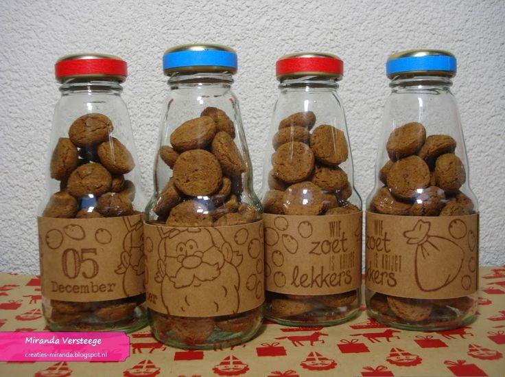 Miranda's Creaties - Sinterklaaspresentje, flesjes met kruidnoten