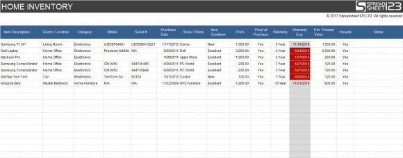 Home Inventory Spreadsheet Template Excel   Inventory Sheet ...