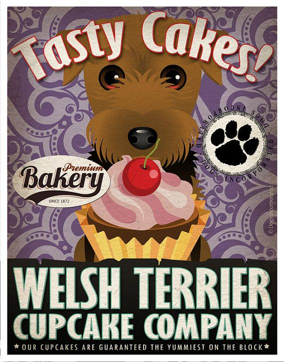 Welsh Terrier Cupcake Company Original Art Print - Custom Dog Breed Print -11x14- Customize with Your Dog's Name - Dogs Incorporated