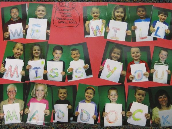 http://fashionpin1.blogspot.com - One of our students was moving before the end of the school year. Each student colored a letter and then I photographed them with their letter. Printed, cut out, and mounted the photos in order for the message. His mom loved the going away memento.
