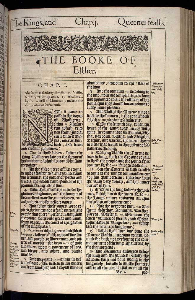 This is the text and a scan of the actual, original, first printing of the 1611 King James Version, the ' HE' Bible, for Esther Chapter 1. Description from kingjamesbibleonline.org. I searched for this on bing.com/images