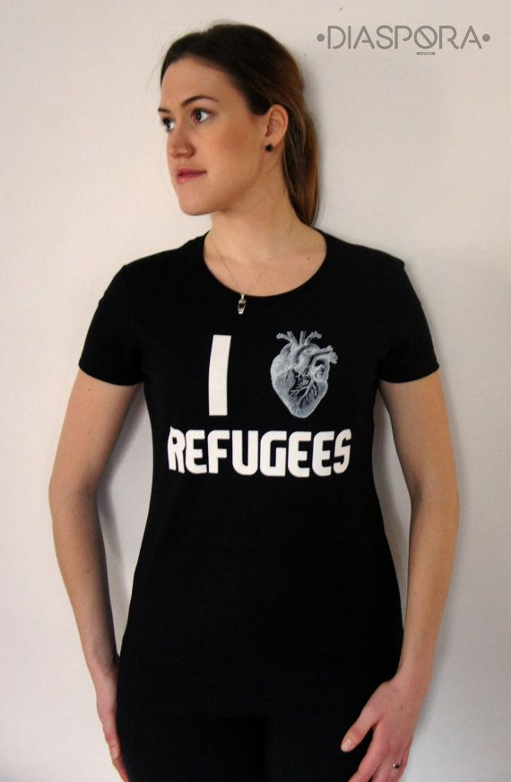 New deisgns here!!! I heart Refugees tshirt | Womens T-shirt | #Political #Protest #Statement #RefugeesWelcome #womensclothing #womens #tshirts #graphictees #tshirt #tees #handmade #etsy #silkscreen #clothing #womenstshirt #protestshirt #refugees