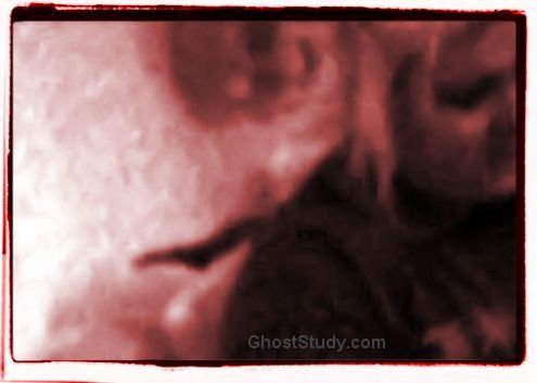 ghost entity evil demon scary on womans shoulder snap chap