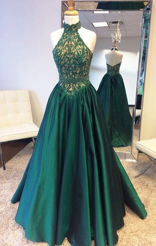 Elegant Halter Sweep Train Hunter Prom Dress with Lace Beading