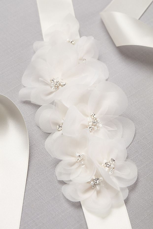 Satin Floral Sash David S Bridal Fabric Flowers Bridal
