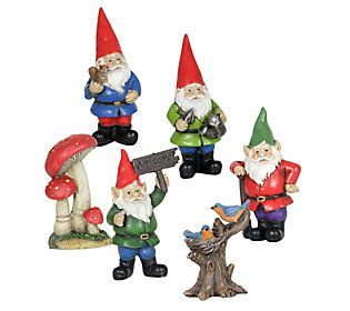 6 Piece Miniature Gnome Set By Exhart Qvc Com Garden Figurines
