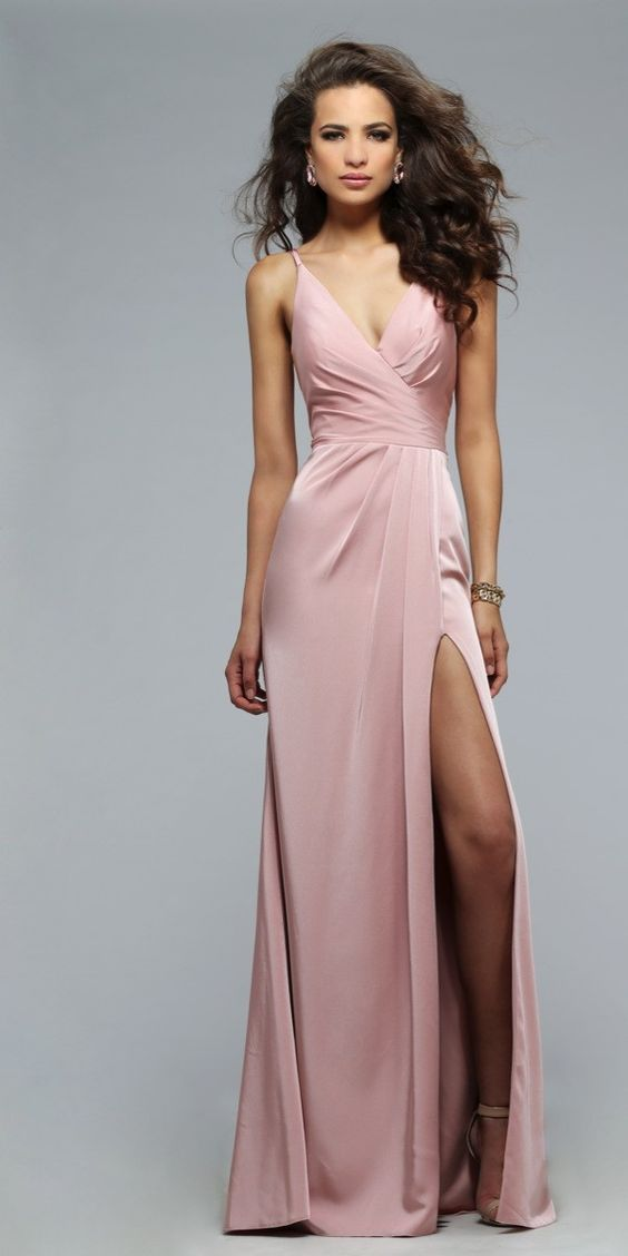 Pearl Pink Long Prom Gown Evening Dress,prom dress,prom dresses,slit prom gown,prom gowns,long prom dress - Thumbnail 1