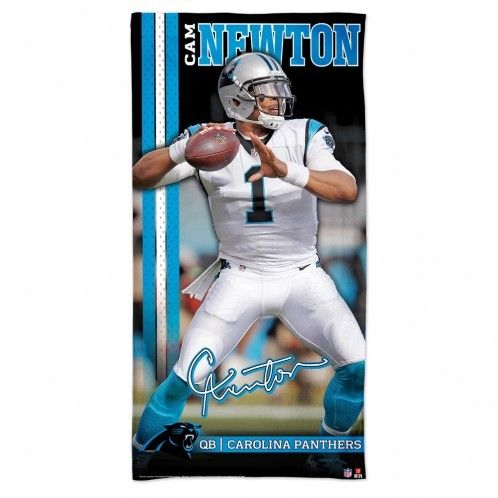 Our Cam Newton Beach Towel lets you celebrate everyone's favorite former Tiger while relaxing at the beach or pool! This 30x60 towel features Carolina Panthers' QB Cam Newton in full color and has a soft polyester top surface and an absorbent cotton back surface.