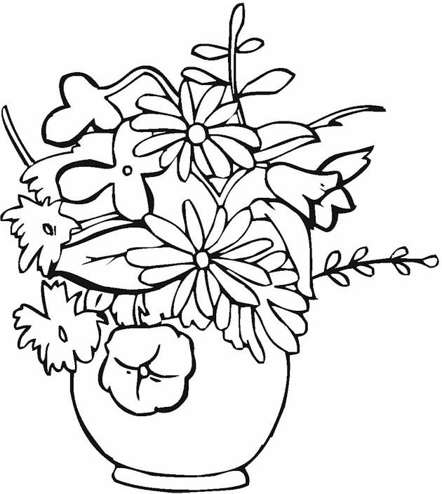Colouring Pages Of Flowers In Vase : 288 best flower coloring pages images on pinterest