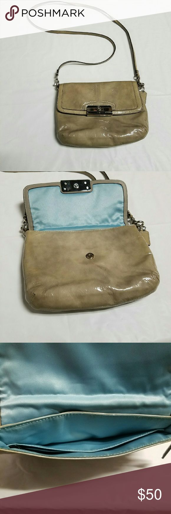 Coach Swingpack Glossy green coach bag, sky blue interior, detachable strap Coach Bags Crossbody Bags
