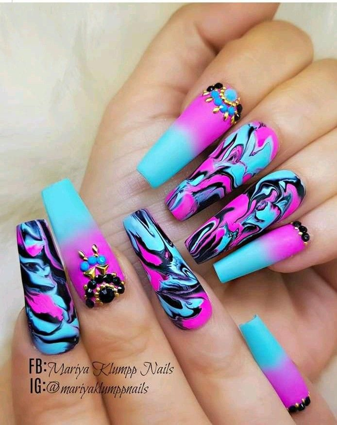 Blue And Purple Marble Nails Marblenails Glow Nails Swag Nails Best Acrylic Nails