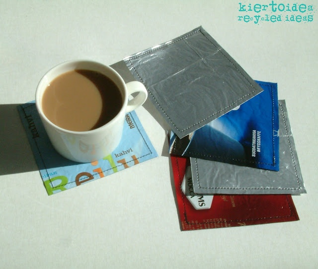 Fused coffee bag coasters #coffee bags