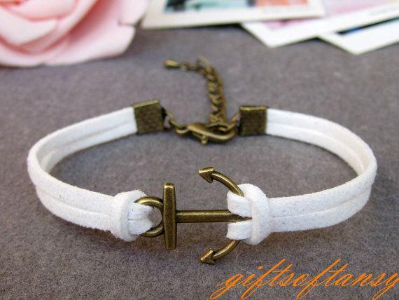 Anchor Bracelet-- Cute Bronze Anchor Bracelet, White Rope Bracelet, Best Gift for Friend---C416