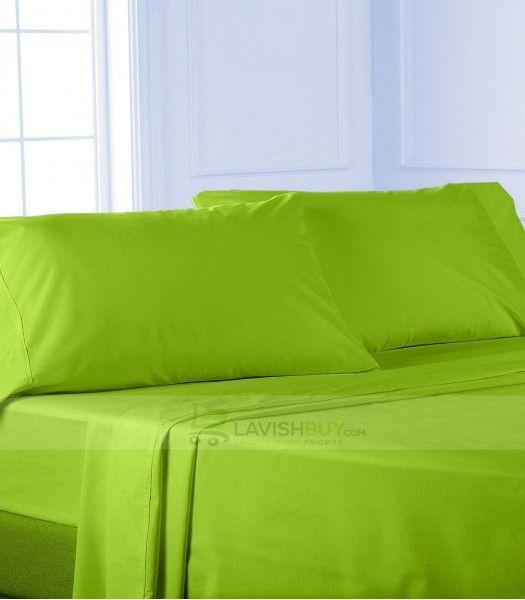 Exceptional Parrot Green Egyptian Cotton Bedding Sheet Set 1000TC