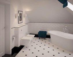 Stylowe szarości - Duża łazienka na poddaszu w domu jednorodzinnym jako salon kąpielowy z oknem, styl klasyczny - zdjęcie od Fabryka Nastroju