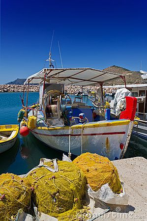 Fishing boat with fishing nets on the Greek island of Chios