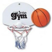 "This product is a SLAM DUNK when promoting your favorite high school, college or professional team. Great for sports bars to promote big games like the playoffs or March Madness or as a tie-in for sales meetings and contests. *Great toy for all age ranges. *Attaches via suction cup to the wall. *Comes with mini non-imprintable basketball.  9"" W x 7"" L"