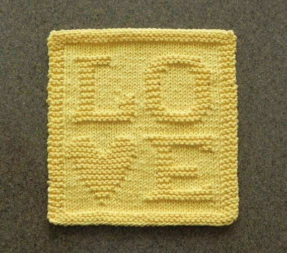 LOVE Knit Dishcloth - Yellow Heart 100% Cotton Dish Cloth Wash Cloth - Baby or Bridal Shower Hostess Gift - Unique Hand Knitted Design